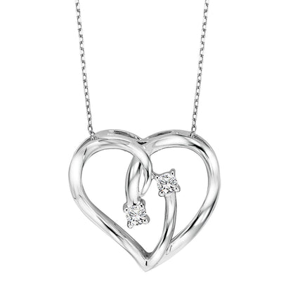 Silver Diamond Heart Pendant Diamond Pendant BW James Jewelers