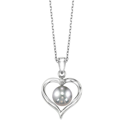 Silver Pearl Pendant Necklace BW James Jewelers
