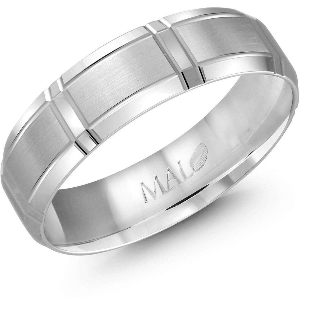 Deep Straight Cut White Gold Wedding Band