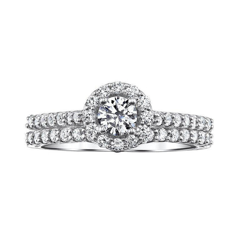 Image of 14k Love Story Round Halo Diamond Bridal Set 1CTW