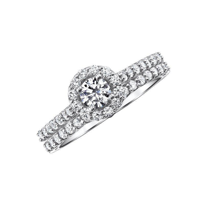 14k Love Story Round Halo Diamond Bridal Set Engagement Ring Love Story