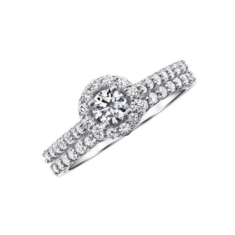 14k Love Story Round Halo Diamond Bridal Set