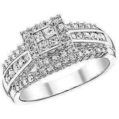 Princess Cut Halo Double Band Diamond Ring 1ctw Engagement Ring Beautiful Bride