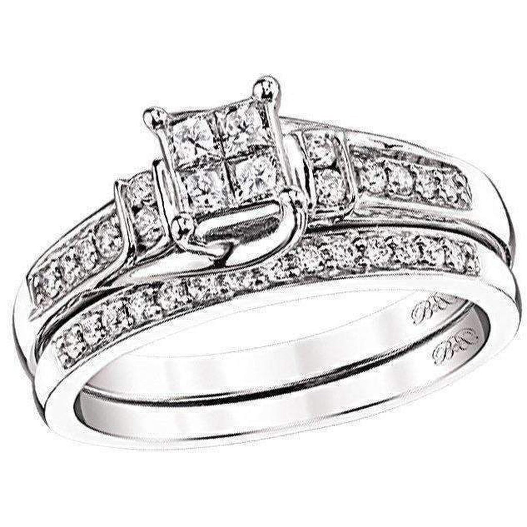 Beautiful Bride Collection Princess Cut Diamond Set 14k 1/2ctw Engagement Ring Beautiful Bride