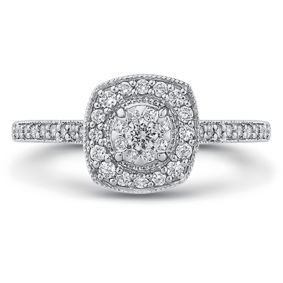 LUMINOUS Vintage Halo Engagement Ring