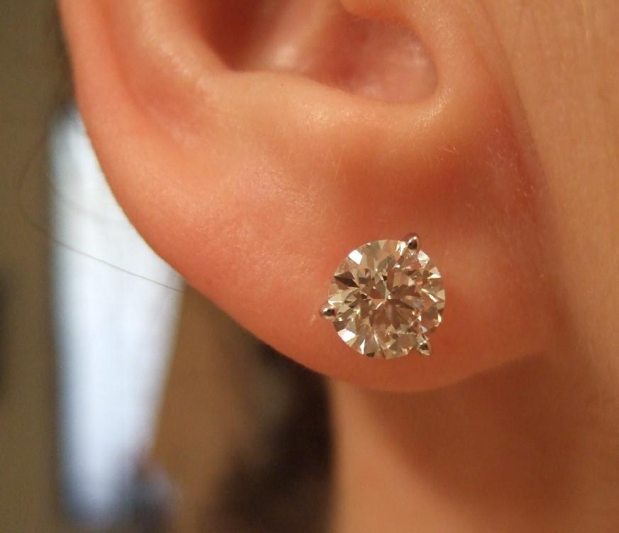 14k Martini Set Diamond Stud Earrings