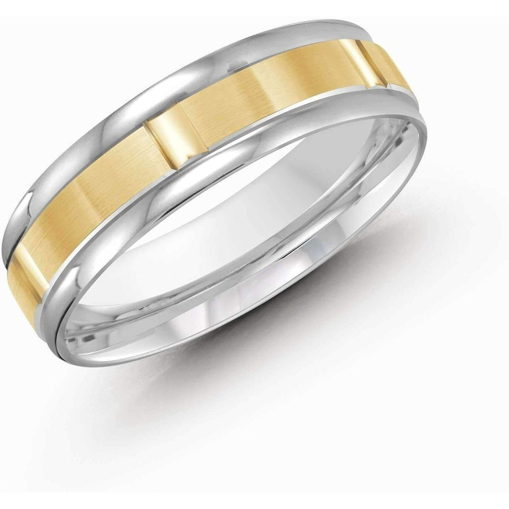 Two Tone Yellow and White Gold Wedding Band