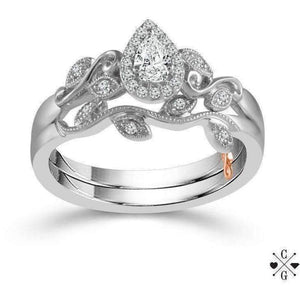 Beautiful Bride Collection Pear Vintage Diamond Ring Set .35ctw