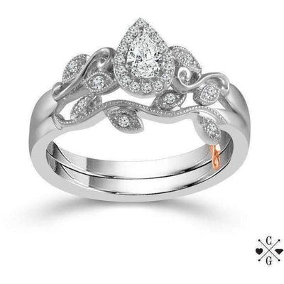 Beautiful Bride Collection Pear Vintage Diamond Ring Set