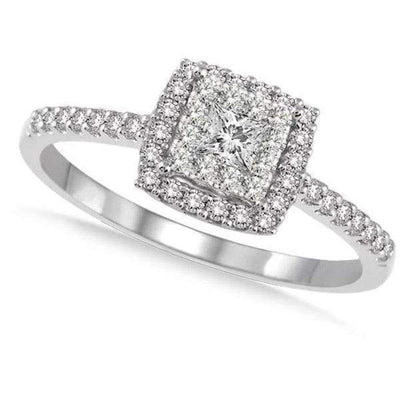 LoveBright Princess Cut Halo Diamond Ring Engagement Ring Ashi