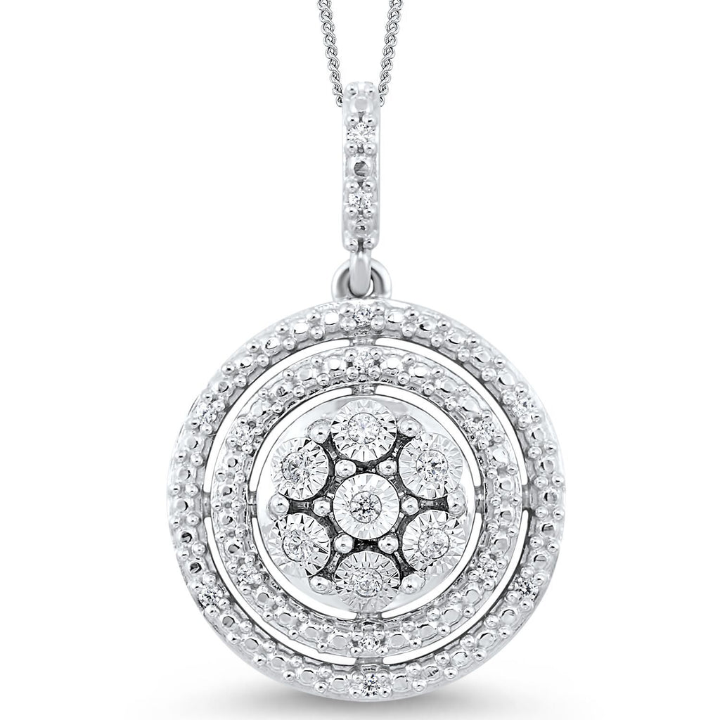 Silver and Diamond Pendant Necklace BW James Jewelers