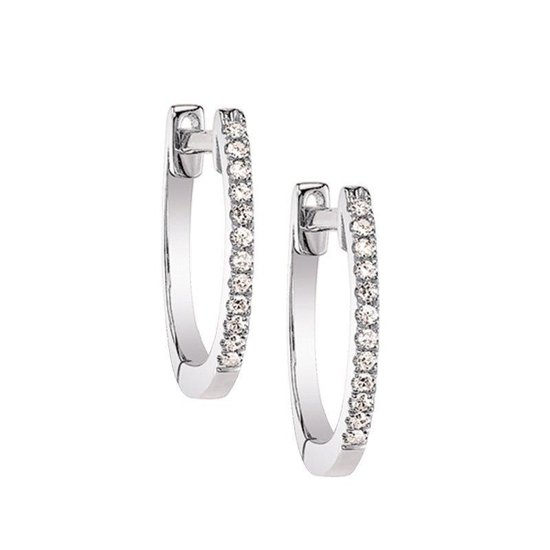 Classic Hoop Diamond Earrings White Gold Earrings BW James Jewelers