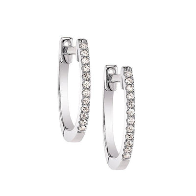Classic Hoop Diamond Earrings White Gold