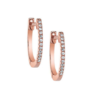 Classic Hoop Diamond Earrings Rose Gold