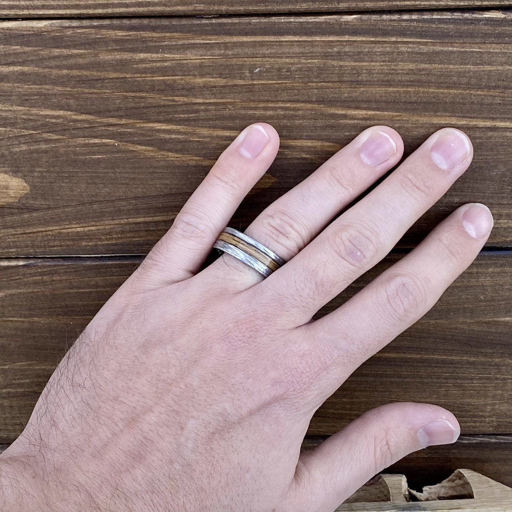 """Charred"" 8mm Ceramic Wedding Ring With Genuine Wood from Jack Daniels Whiskey Barrel Inlay Wedding Band BW James Jewelers"