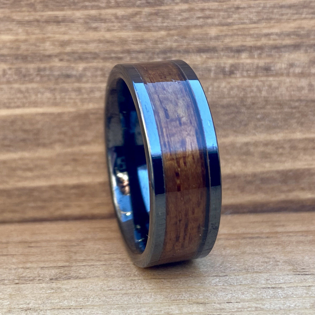 """The Battleship"" 100% USA Made Black Ceramic Ring With Wood From The USS California ALT Wedding Band BW James Jewelers"