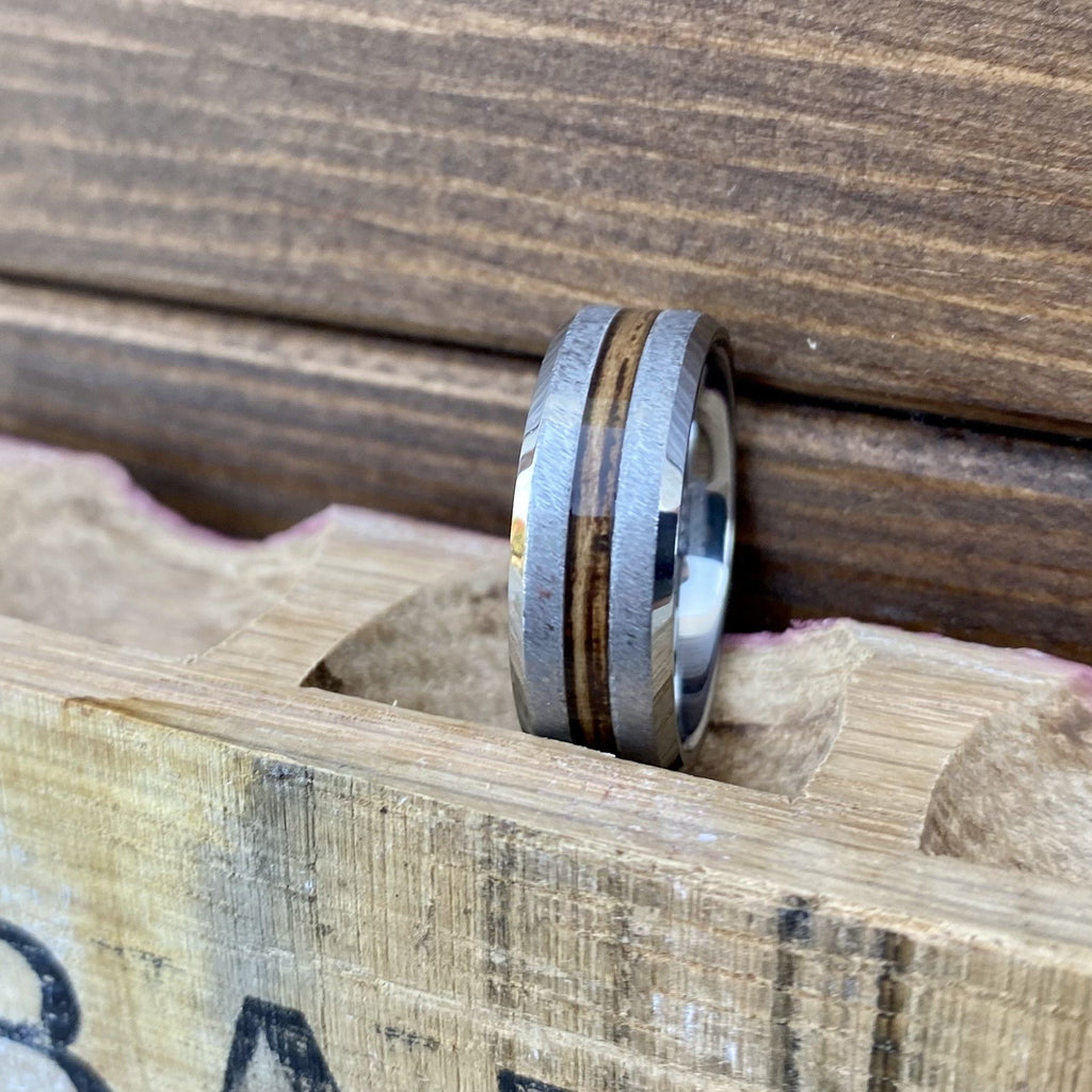 100% USA Made 8mm Rugged Tungsten Beveled Edge Band with Bourbon Barrel Aged Inlay and Grain Finish Barrel Aged