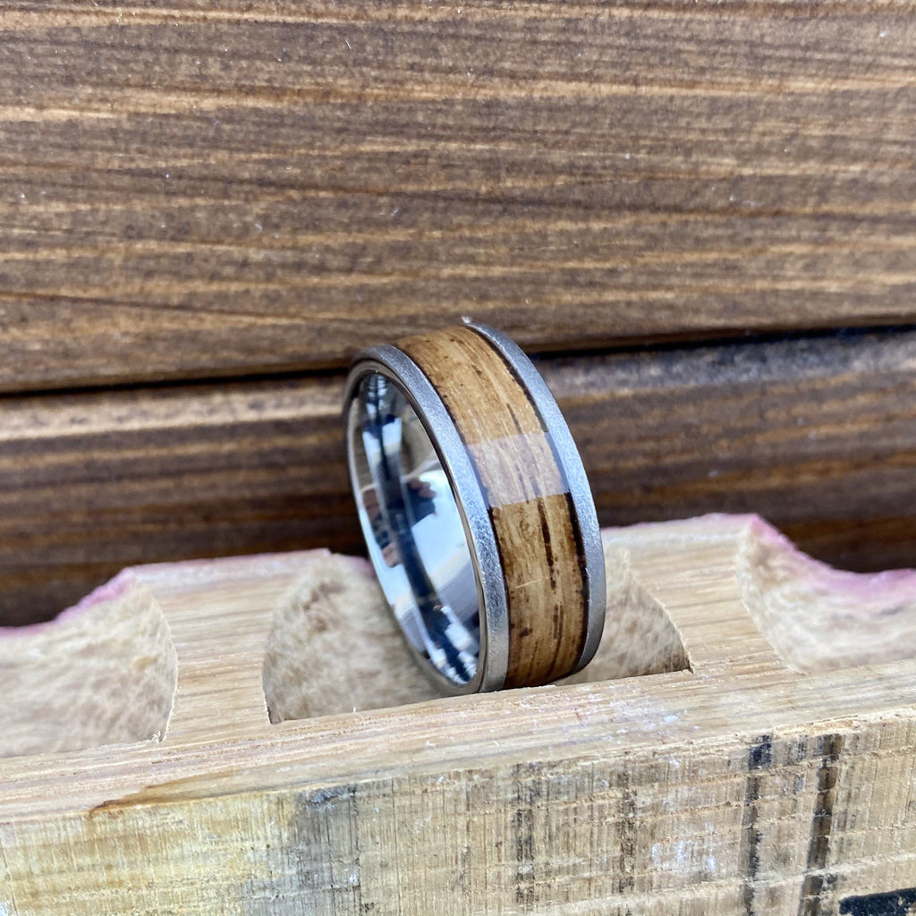 100% USA Made 8mm Rugged Tungsten Flat Band with Bourbon Barrel Aged Inlay and Stone Finish Barrel Aged
