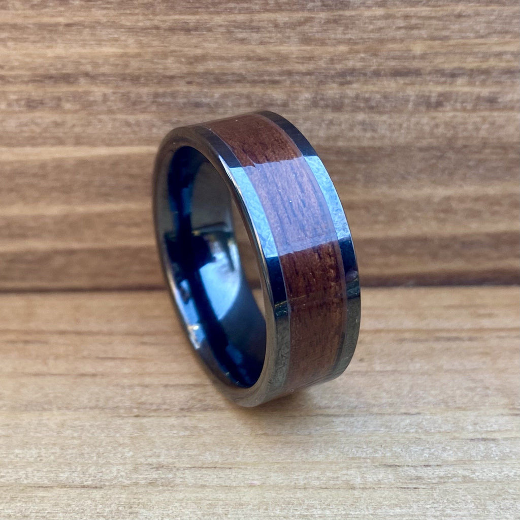 """The Sargent"" 100% USA Made Black Ceramic Ring With Wood From A M1 Garand ALT Wedding Band BW James Jewelers"