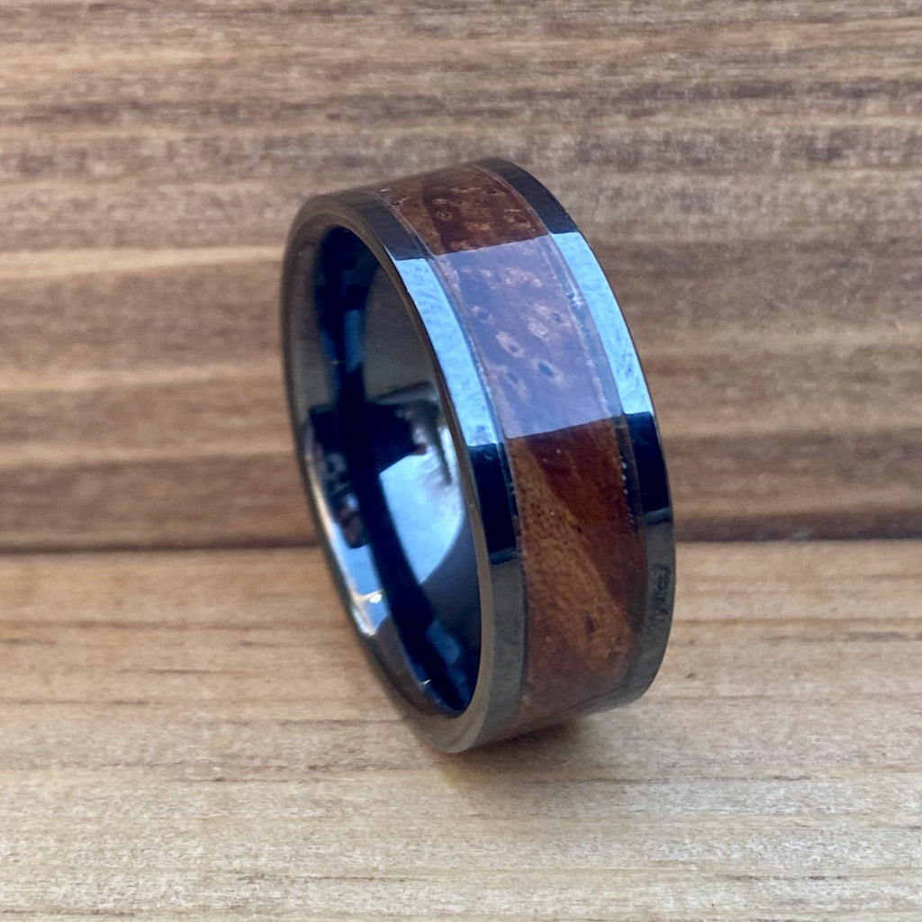 """The Thompson"" 100% USA Made Black Ceramic Ring With Wood From A Thompson M1A1 Firearm ALT Wedding Band BW James Jewelers"