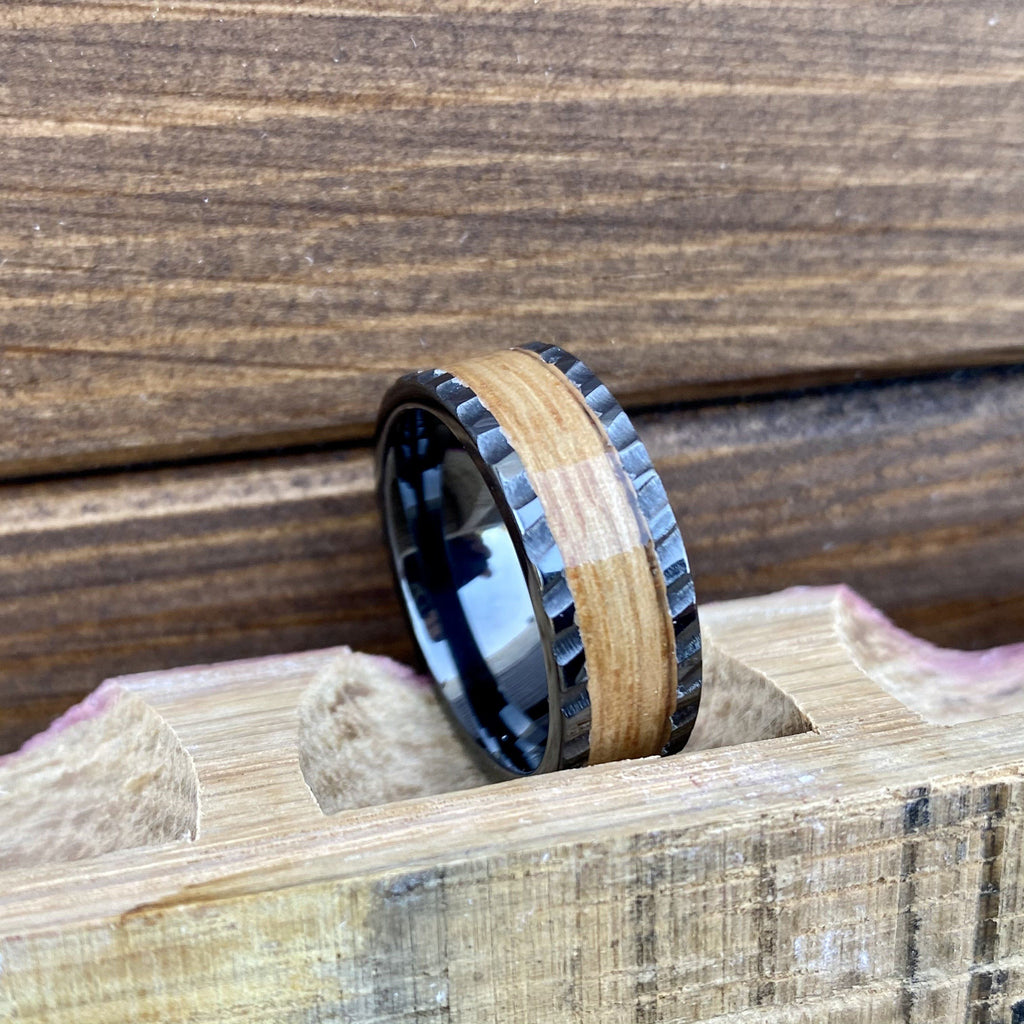 100% USA Made 8mm Black Diamond Ceramic Pipe Cut Band with Single Malt Whiskey Barrel Aged Inlay and Scored Finish Barrel Aged