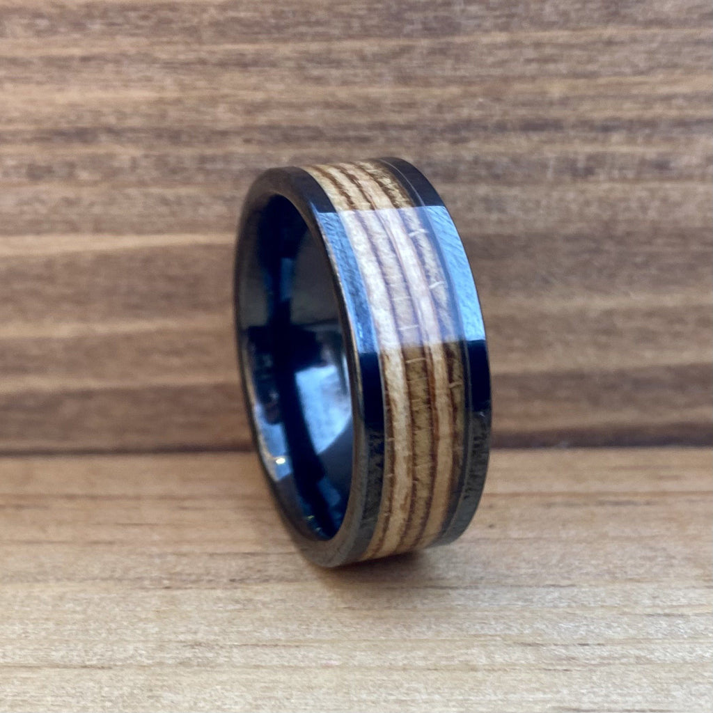 """The Warsaw"" 100% USA Made Black Ceramic Ring With Wood From AK-47 Rifle ALT Wedding Band BW James Jewelers"