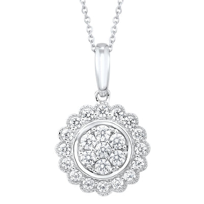 Floral Diamond Pendant Necklace BW James Jewelers