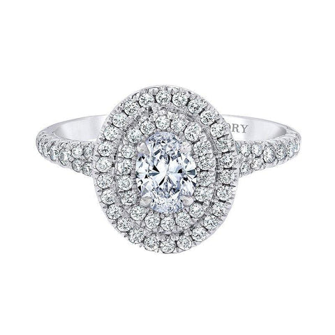 Image of Love Story Oval Halo Engagement Ring