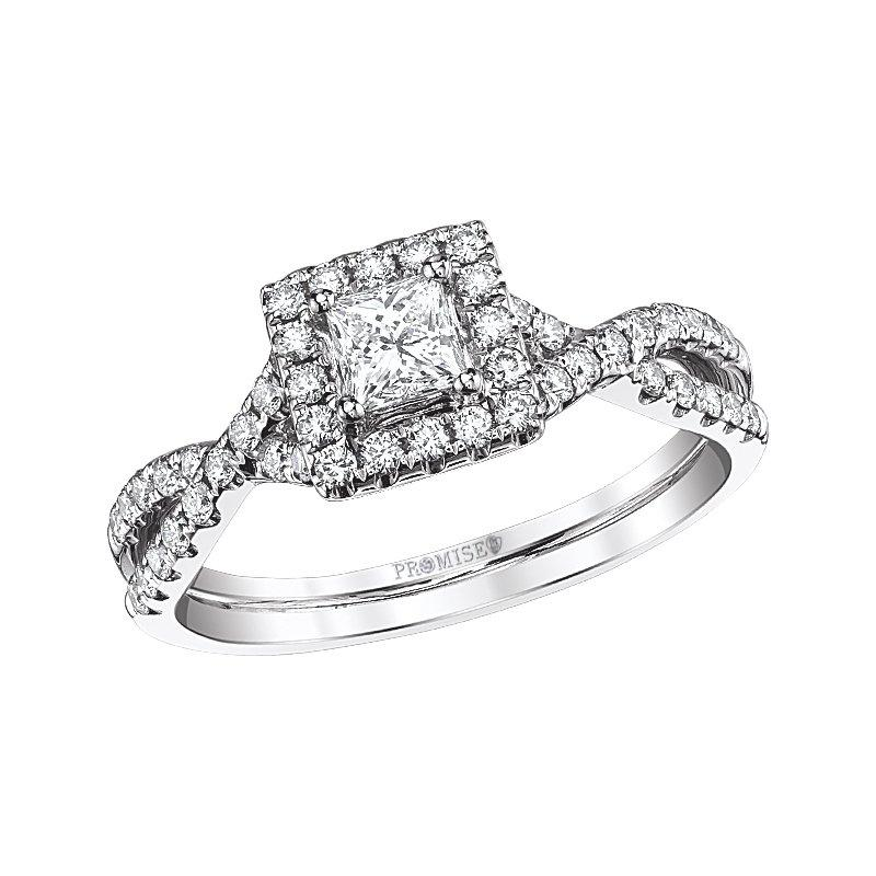 Love Story Twist Princess Cut Halo Diamond Ring 14k Engagement Ring Love Story
