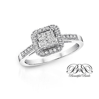 Princess Cut Halo Diamond Ring 1/3ctw Engagement Ring Beautiful Bride
