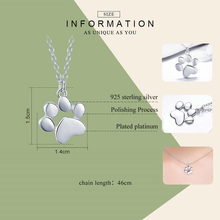 BAMOER Genuine 925 Sterling Silver Cute Animal Footprints Dog Cat Footprints Paw Necklaces Pendants Women Silver Jewelry SCN275 BW James Jewelers