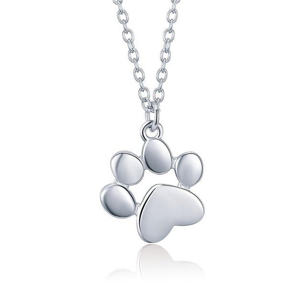 BAMOER Genuine 925 Sterling Silver Cute Animal Footprints Dog Cat Footprints Paw Necklaces Pendants Women Silver Jewelry SCN275 BW James Jewelers SILVER COLOR