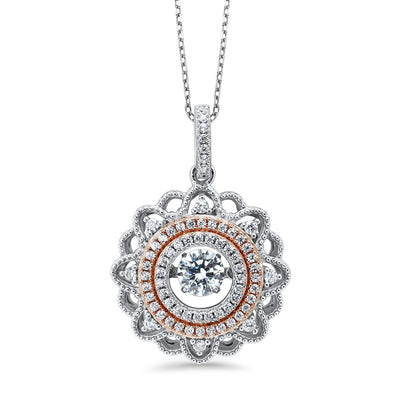 Silver Floral Pendant Necklace BW James Jewelers