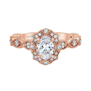 Love Story Rose Gold Vintage Halo Diamond Engagement Ring