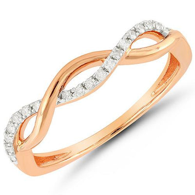 Rose Gold Diamond Twist Ring Fashion Ring BW James