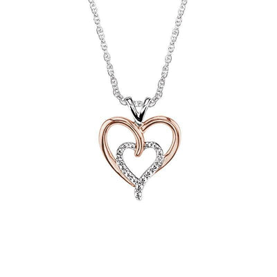 Sterling Silver With Rose Gold Double Heart Diamond Necklace Necklace BW James Jewelers