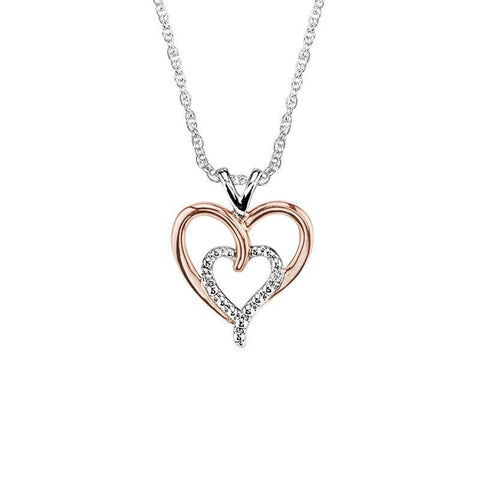 Sterling Silver With Rose Gold  Double Heart Diamond Necklace