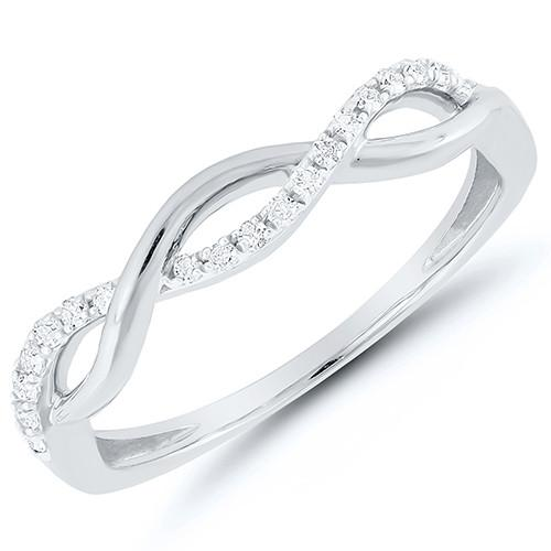 White Gold Diamond Twist Band Fashion Ring BW James