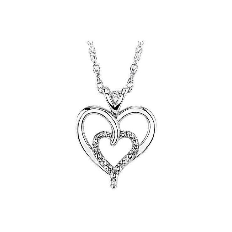 Sterling Silver Double Heart Diamond Necklace