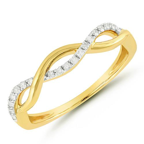 Yellow Gold Diamond Twist Ring diamond wedding bands BW James