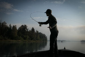 Casting a fly rod.