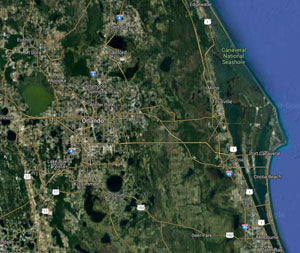 Satellite view of the Central Florida area.