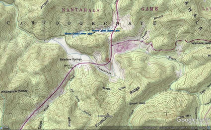 Topographic map of area of NC.