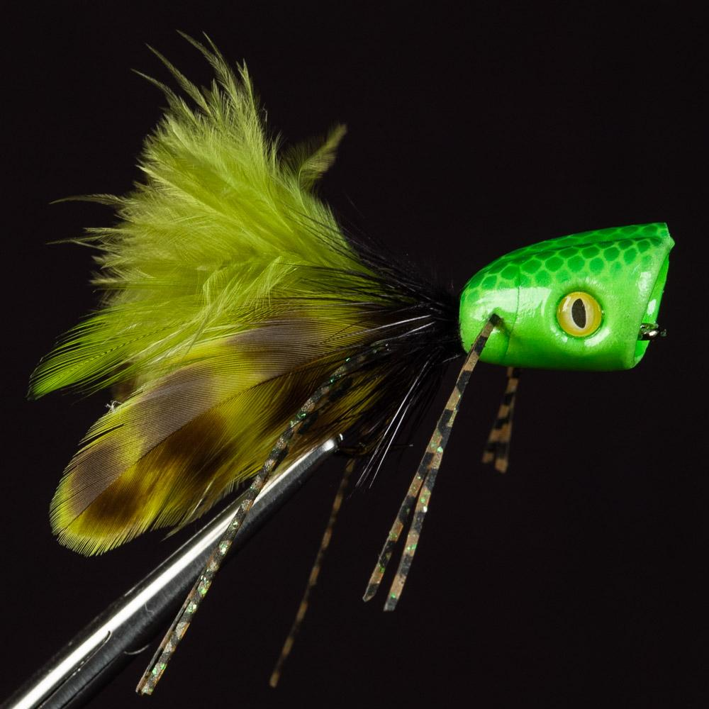 Double Barrel Bass Bug Popper - Green/Chartreuse