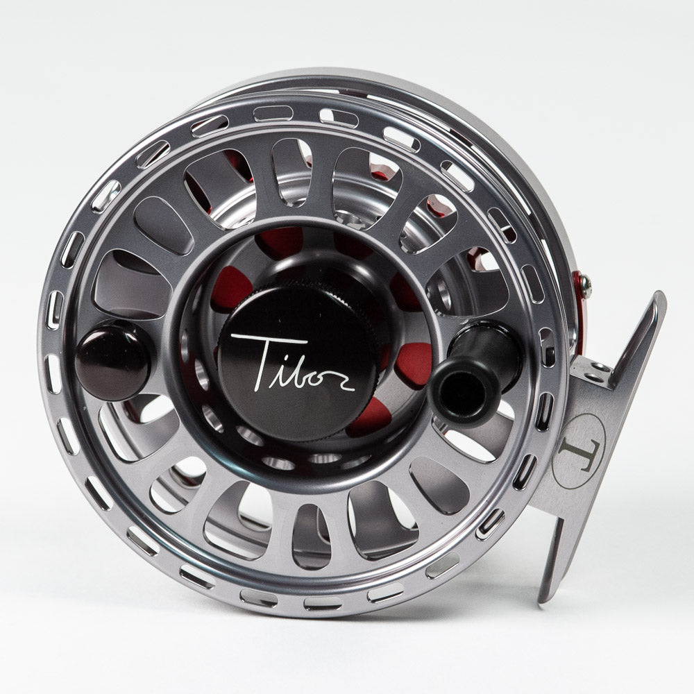 Tibor Signature Fly Reel - Graphite Gray/Red, 7/8