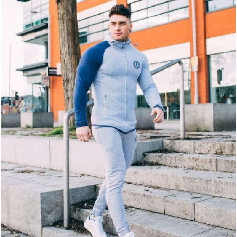 Body Building Sweat Suit - Blue Grey - dealsbreak