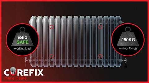 Corefix, heavy duty fixing securing radiator on dot & dab wall on 4 x fixings