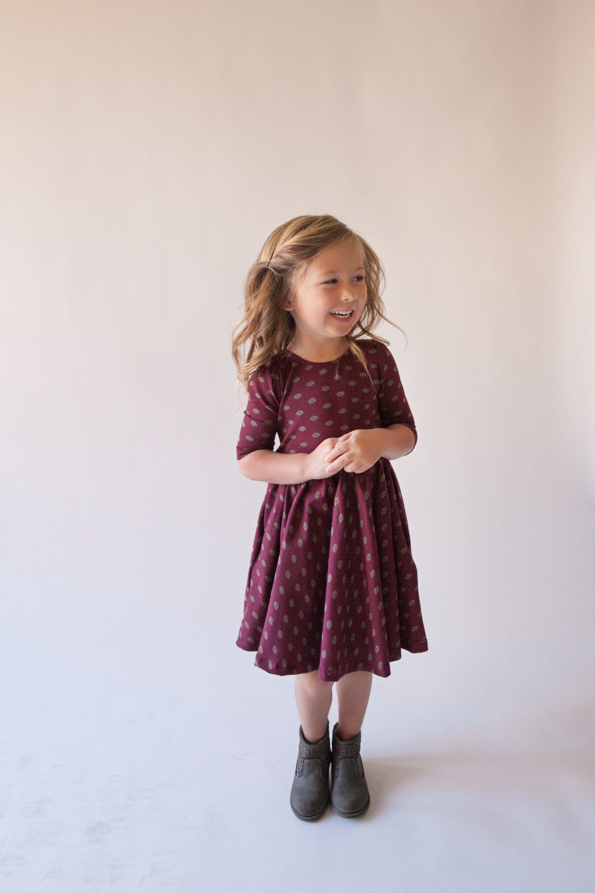 Girls Diamond Burgundy Gather Dress