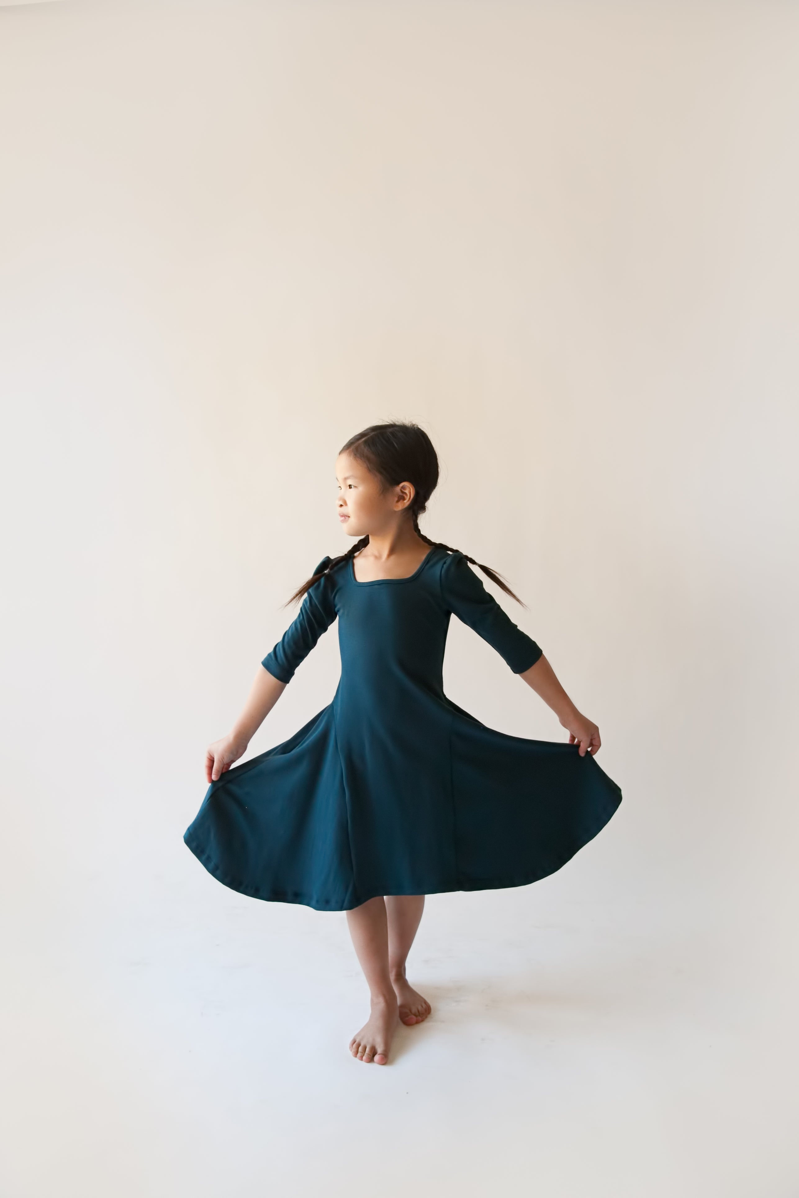 Girls Winter Teal Bell Dress