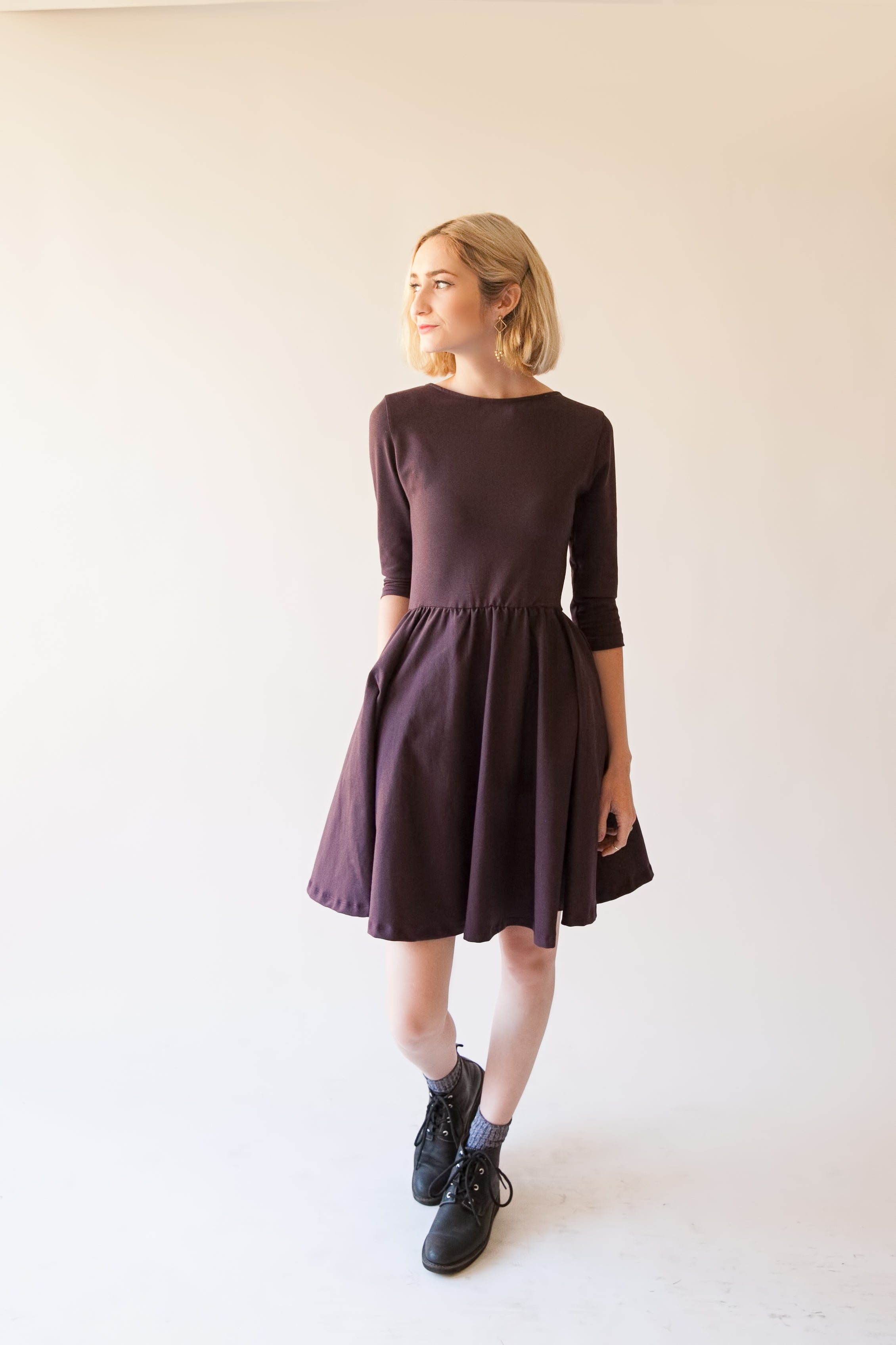 Woman's Eggplant Gather Dress